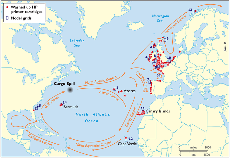 A map of the Atlantic showing where the inkjet cartridges were found – from the Gulf of Mexico to northern Norway