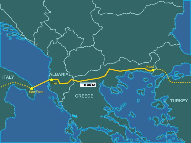 Map of the Trans Adriatic Pipeline.
