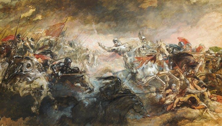 A battleground painting called the Phantom Horseman by Sir John Gilbert
