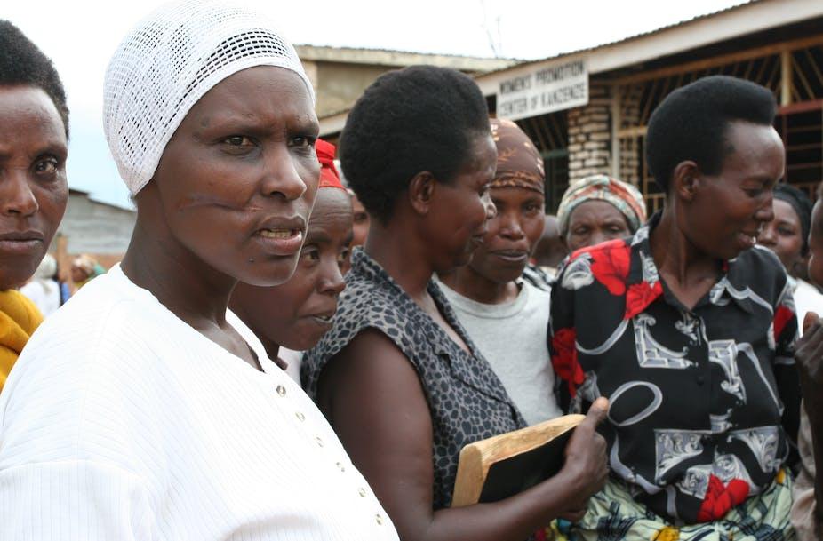 Women survivors of Rwandan genocide gather for a trauma healing meeting near Kigali, 2010