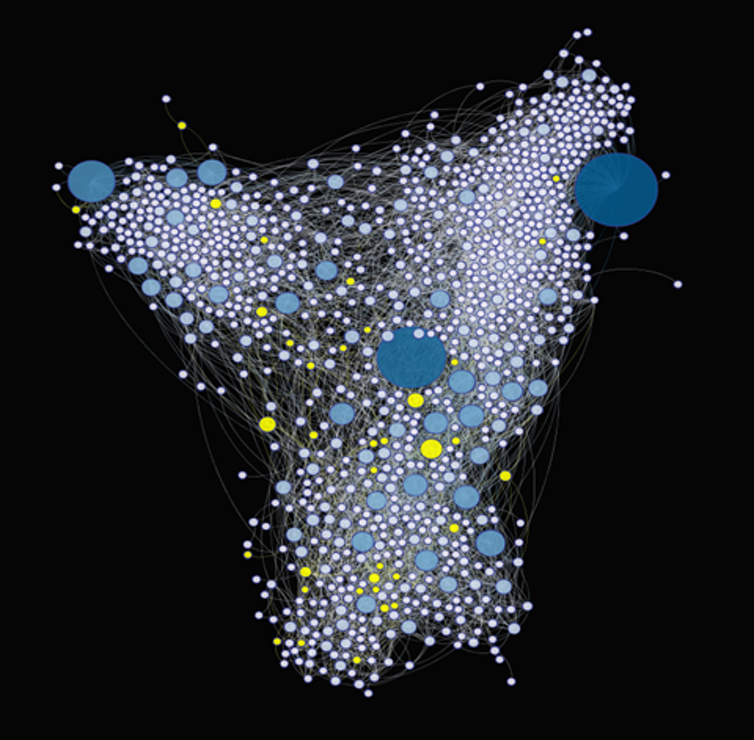 A diagram showing the networks of jazz players, with women represented in yellow.