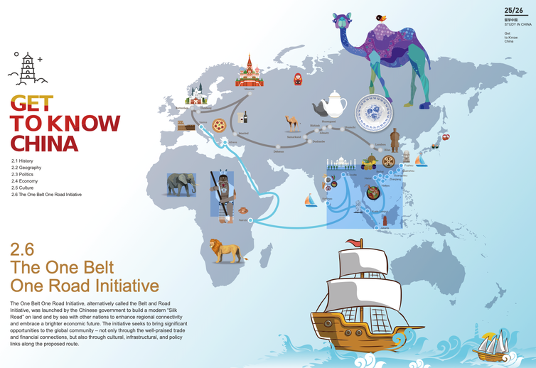 A page from the Study in China Guide showing the place of international education in the Belt and Road Initiative