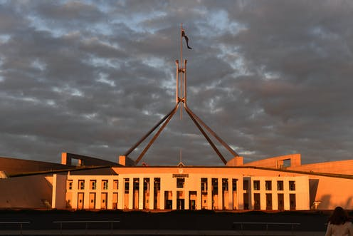 Parliament House at sunrise the day after budget day.
