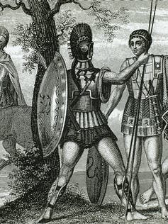 Ancient Greek soldier with battle gear
