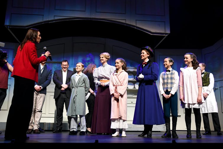 Jacinda Ardern meeting the cast of Mary Poppins on stage