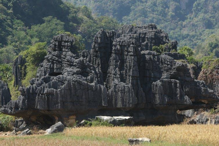 Limestone karsts in a field