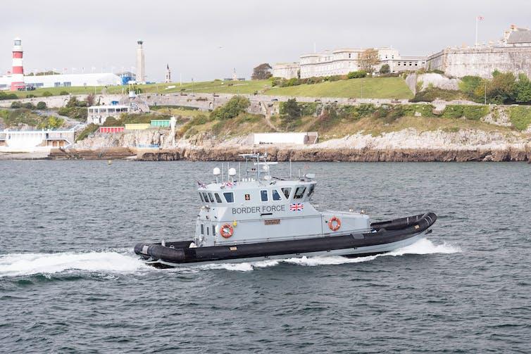 A UK Border Force coastal patrol vessel enters Plymouth harbour