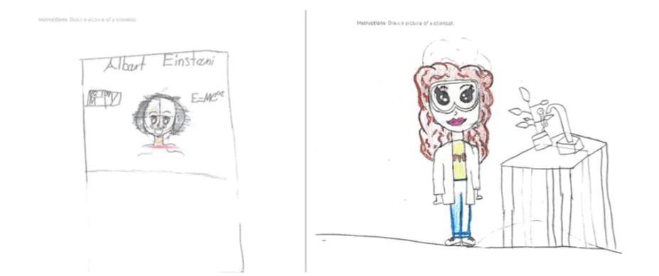 Child's illustrations of Albert Einstein and a woman scientist with long brown hair