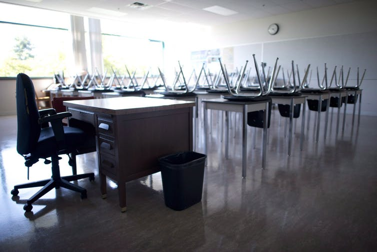 Empty classroom with chairs up on student desks
