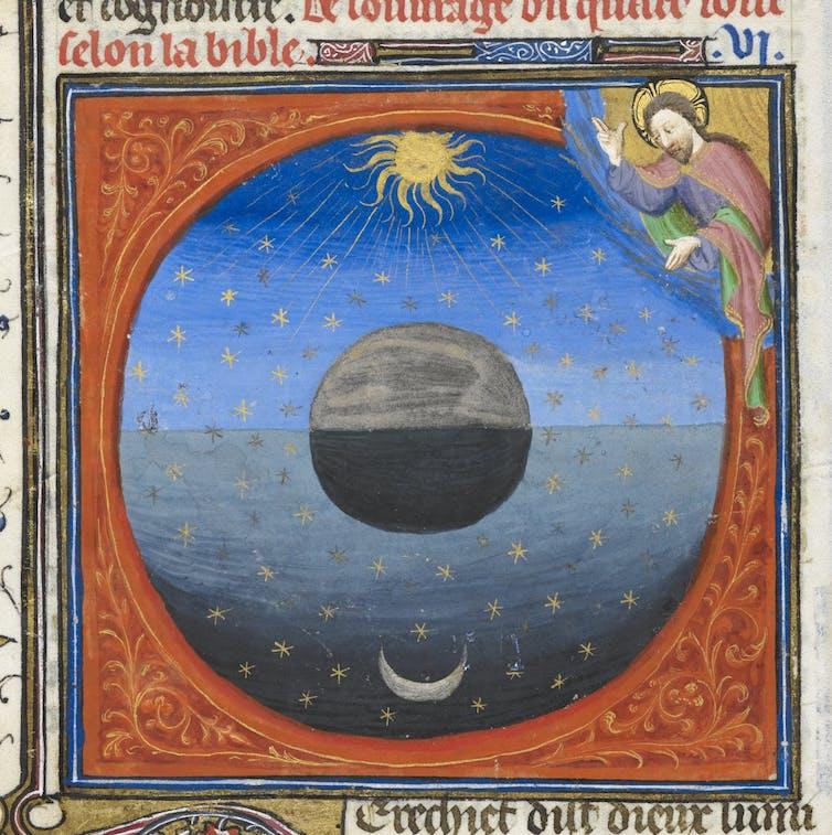 A manuscript illumination showing God creating the Moon and Sun.