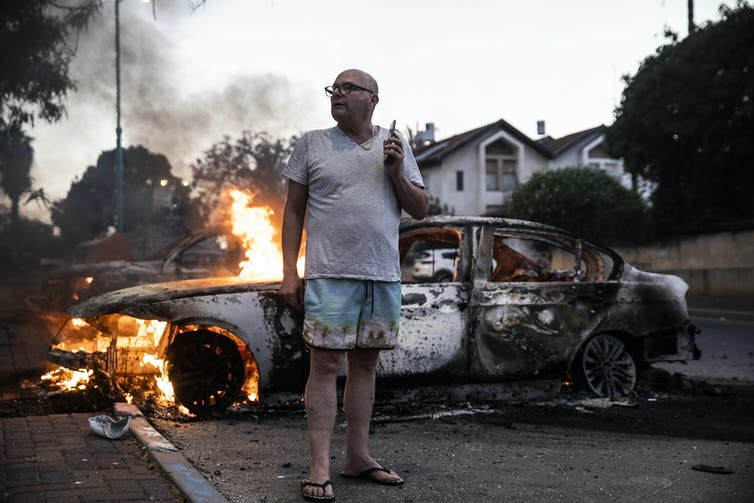 A burning car in the Israeli city of Lod.