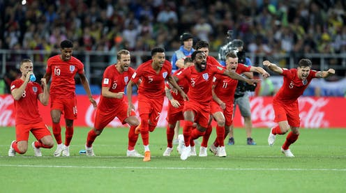 England players celebrate at the Spartak Stadium, Moscow in 2018