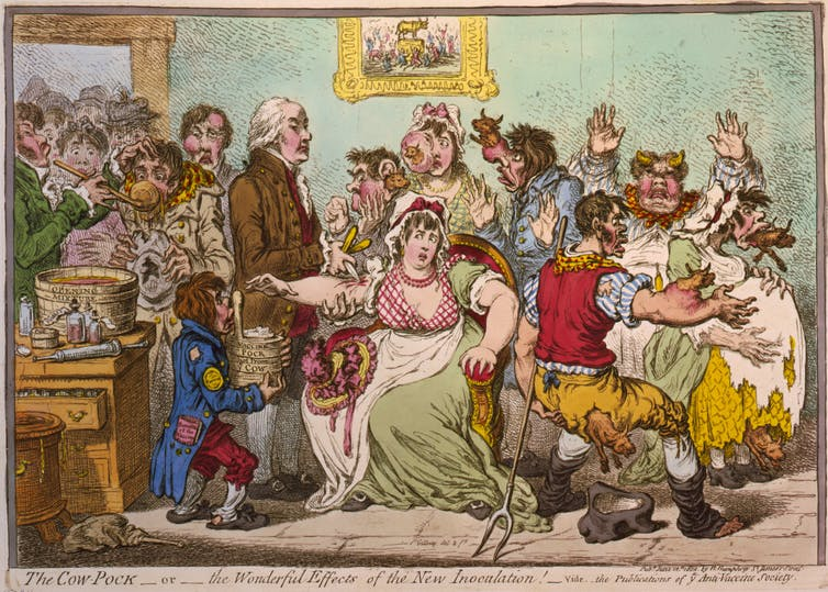 An anti-vaccination caricature by James Gillray, The Cow-Pock – or – The Wonderful Effects of the New Inoculation!
