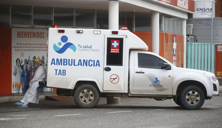 Ambulance transferring COVID patients in Medellin, Colombia