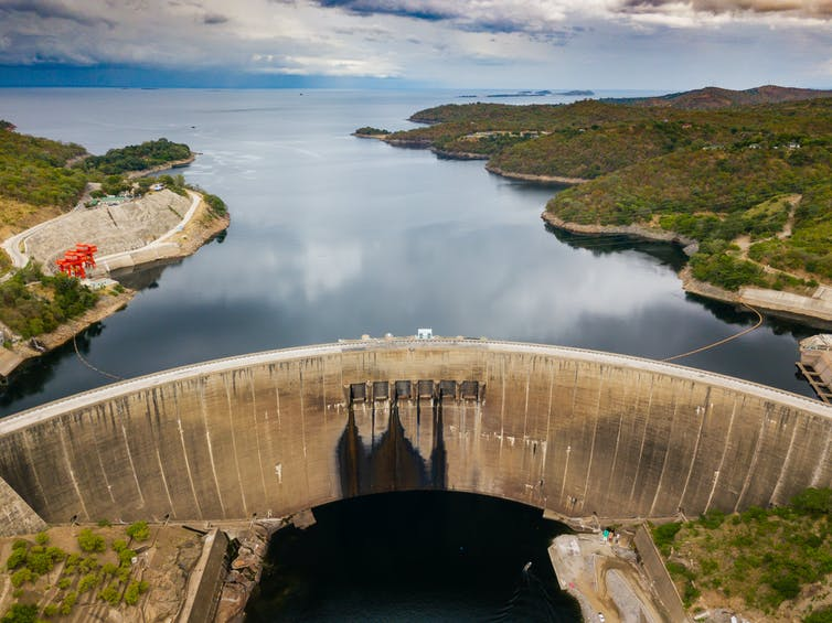 Large dam seen from above