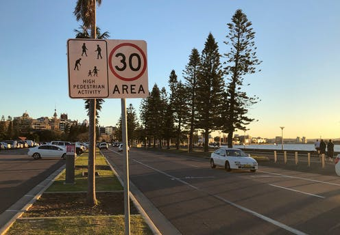 30km/h speed sign along Newcastle foreshore, New South Wales.