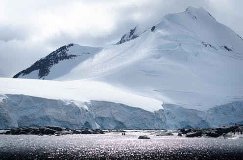 Penguins near an icy cliff in Antarctica