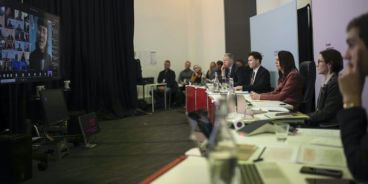 New Zealand Prime Minister Jacinda Ardern, third right, at the Christchurch Call summit on May 15 2021, discussing how to combat violent extremism being spread online.