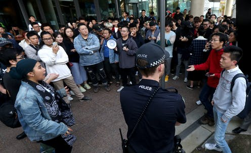 Rival protesters clash on campus over China and Hong Kong