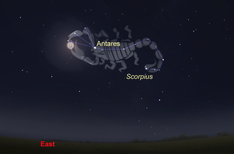 simulation of the night sky and location of the Moon