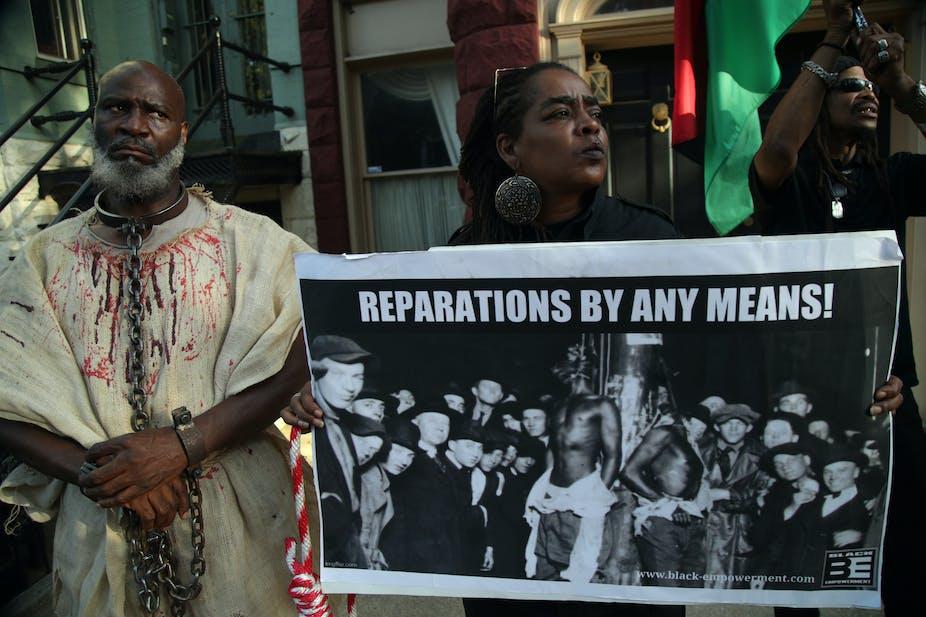 Manifestation pour exiger le versement de réparations aux descendants d'esclaves aux États-Unis