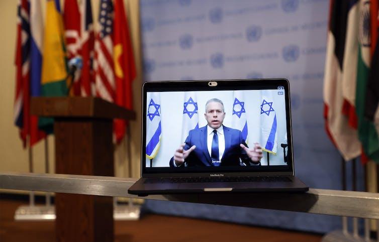 Gilad Erdan addressing the Security Council.