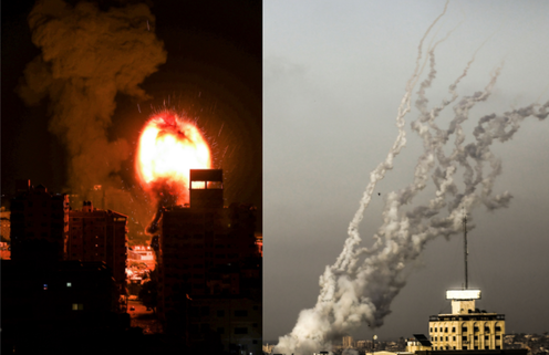 Two photos sandwiched together show an explosion in Gaza from Israeli missiles and smoke in the sky as missiles are launched towards Israel from Gaza.