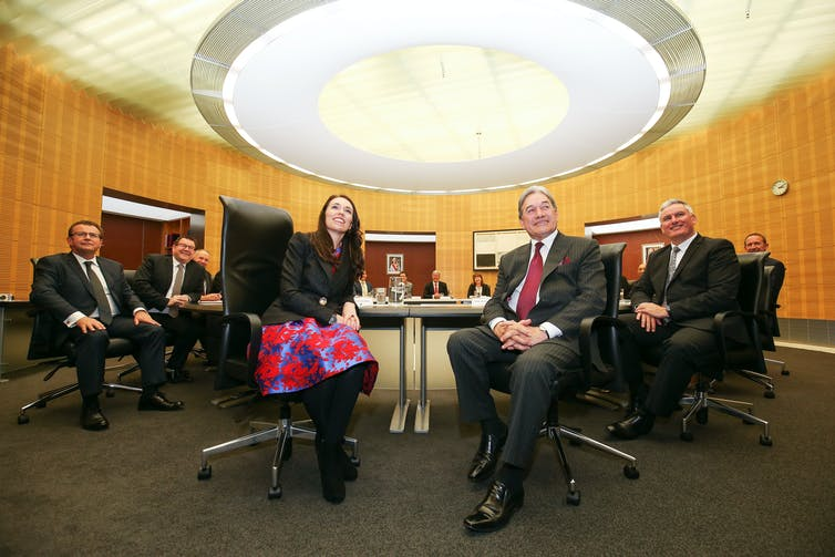 Jacinda Ardern and Winston Peters at a cabinet meeting