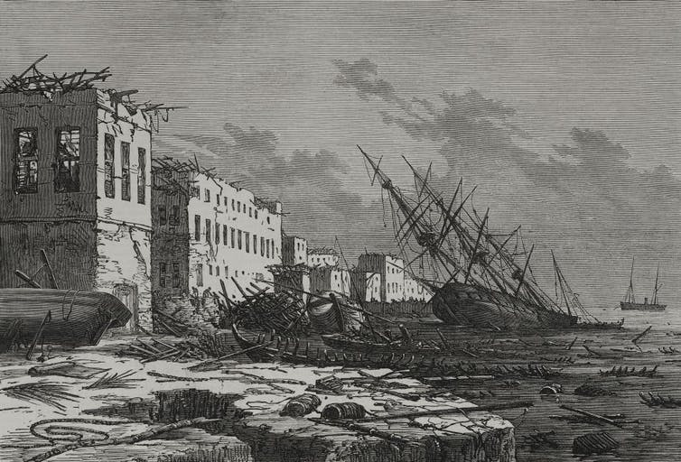 A sketch of the effects of the hurricane at Zanzibar, Tanzania