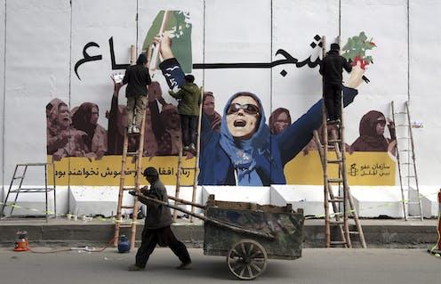 A mural marking International Women's Day in Afghanistan.