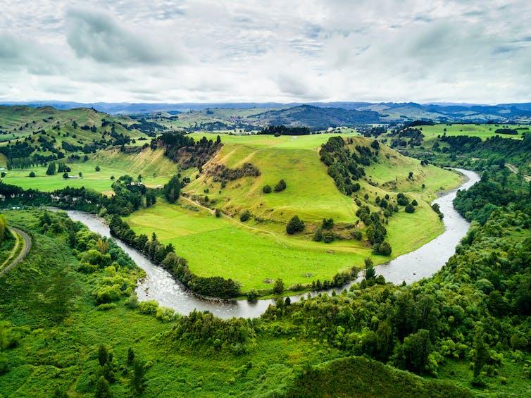 A river winding through lush green valley