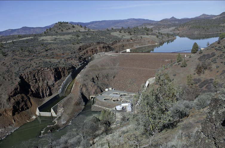 A dam controls the flow of a river
