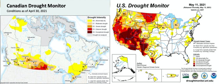 Two maps showing the intensity of drought impacts.