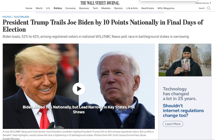 A screenshot of a Wall Street Journal story on Nov. 1, 2020, reporting a 10-point lead for Joe Biden in the final days of the 2020 campaign
