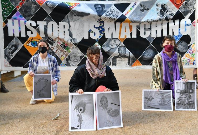 Protesting asylum seeker detention in Australia.