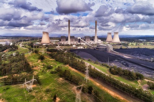 Aerial view of coal stations in the Hunter Valley region