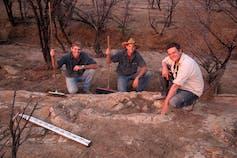 Harry Elliott, Bob Elliott, and Stephen Poropat at the Snake Creek Tracksite.