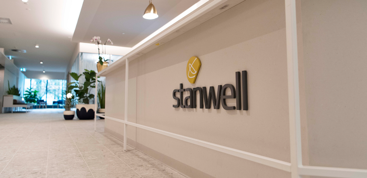 desk showing Stanwell logo