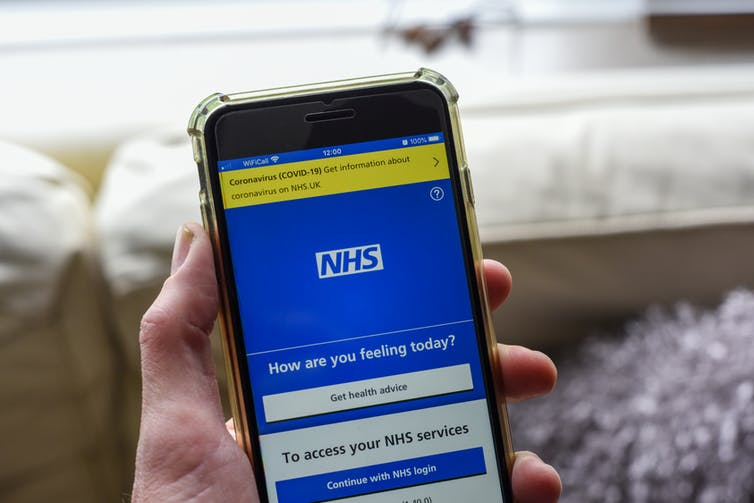 A phone screen showing the NHS app