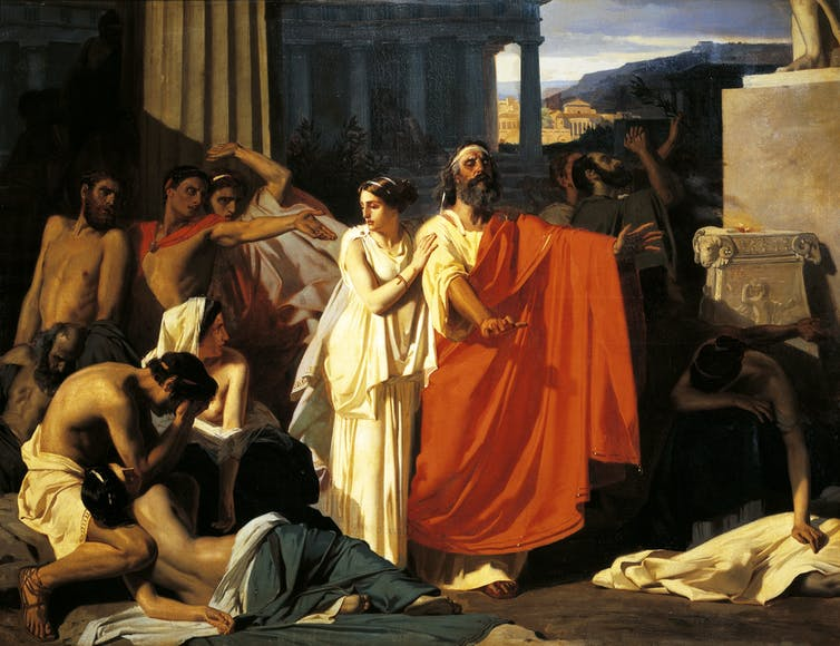 Painting of Oedipus and Antigone during the plague in Thebes, by Eugene-Ernest Hillemacher (1818-1887)