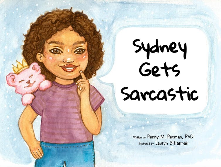 Illustrated book cover showing a little girl smiling and pensively holding up a finger.