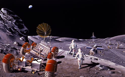 An artists rendition showing a Moon colony with astronauts and a rover.