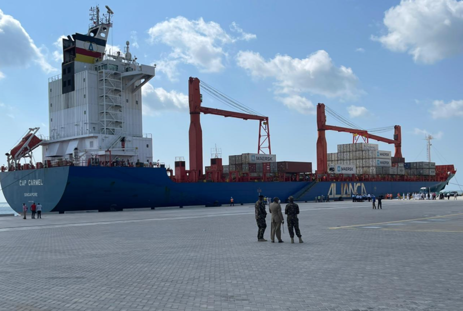 Container ship docks in the new Lamu Port