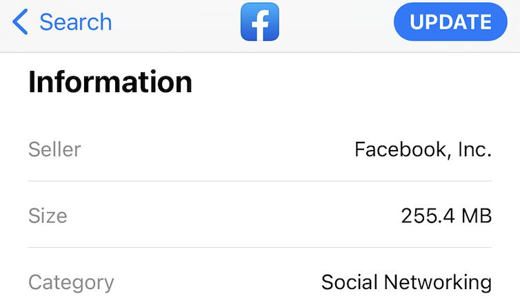 Facebook app storage requirement