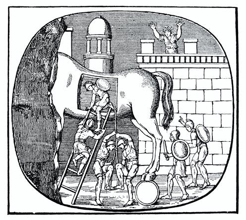 engraving depicting soldiers with swords and shields climbing down a ladder from inside a statue of a horse near a city wall