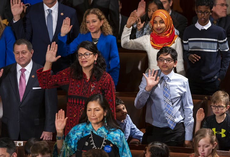 Democratic members of the House of Representatives take their oath on Jan. 3, 2019, the opening day of the 116th Congress, at the Capitol in Washington. AP Photo/J. Scott Applewhite