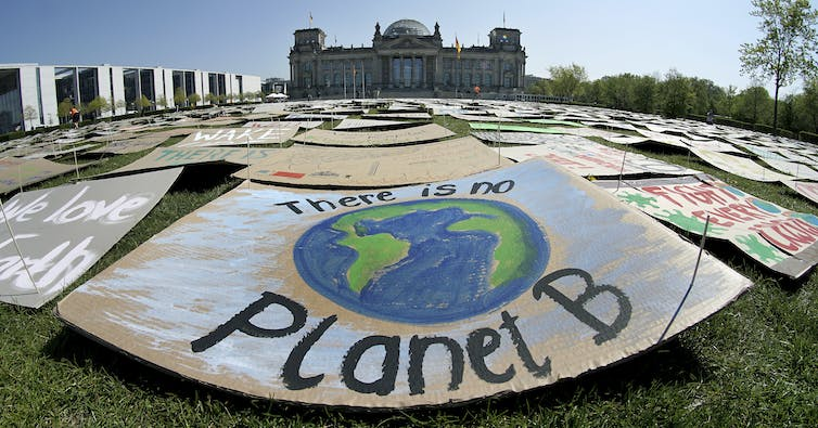 Protest sign reads 'There is no Planet B'