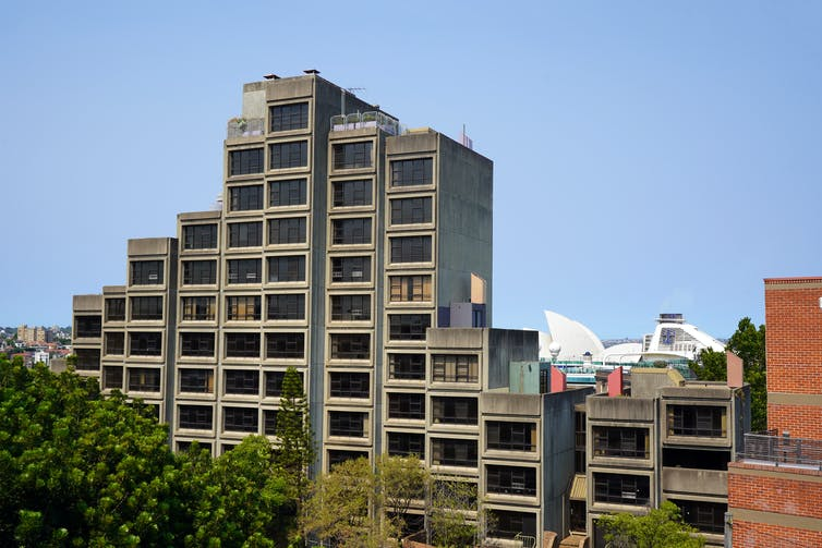 view of Sirius apartment building with Sydney Opera House in background