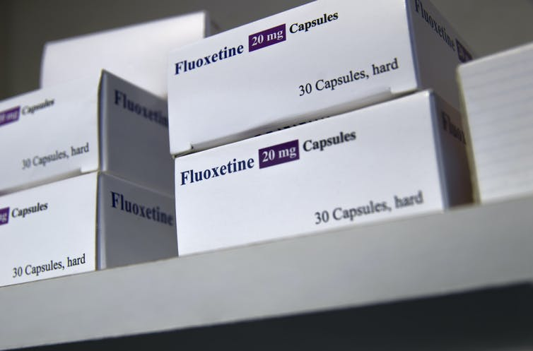 Boxes of fluoxetine, an antidepressant medication