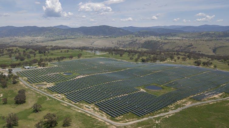 Solar panel farm in a field